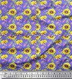 Soimoi Lila Baumwoll-Voile Stoff Blätter und Sonnenblumen