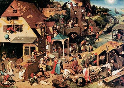 """Kunstdruck / Poster: Pieter Brueghel der Ältere """"Die niederländischen Sprichwörter"""" - hochwertiger Druck, Bild, Kunstposter, 85x60 cm"""