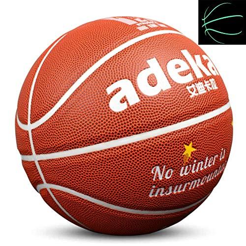 Rougeoyant Basketball PU, Style De Ballon Fluorescent, Fluorescent Brillant Après Le Soleil Éclatant, Outil De Formation Officiel pour Enfants De Taille 7