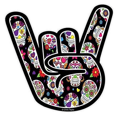 Vinyl Lkw-seite (ROCK auf der Seite Design mit Tattoo-stil Mexikanischer Sugar Skull Muster Motiv Vinyl Auto-aufkleber Abziehbild 92x92mm by CTD)