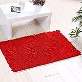 Badematte Anti Rutsch Badteppich aus Mikrofaser für Badzimmer Wohnzimmer Schlafzimmer (Rot)