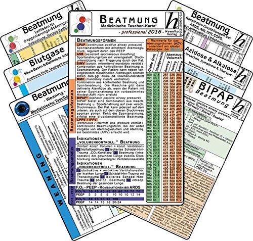 Beatmungs-Karten-Set - professional 2016 (7er-Set) - Medizinische Taschen-Karte: Bestehend aus: Beatmung - Beatmungsformen, Indikationen, ... Säure-Basen & Elektrolyte -intensiv- Azidose - Mehrere Karten Taschen