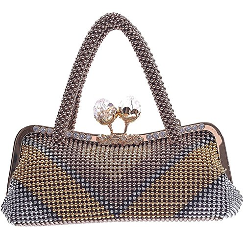 ERGEOB® Donna Clutch sacchetto di sera borsetta Clutch per Party Festa matrimonio teatro cinema catena taschino colore del caffè
