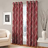 #10: Warmland Floral 2 Piece Eyelet Polyester Door Curtain Set - 7ft, Multicolour