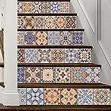 LTTSTD LT021 3D DIY Selbstklebend Wasserdicht Treppenaufkleber Arabischen Stil Stitching Farbe Keramikfliese Wandgemälde 18 * 100cm * 6PCS