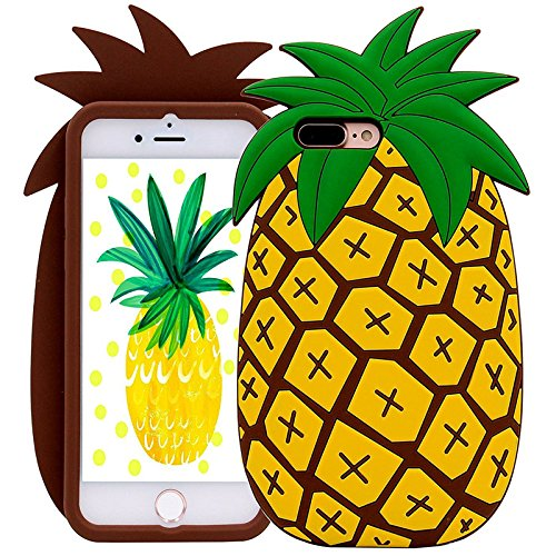 Iphone 7 Plus Case , KoalaGroup® 3d trendy vertical silicone sleeve body Cactus/ Pikachu /Pineapple /drop resistance protective sleeve case cover for iphone 7 Plus (Pikachu tail) Pineapple