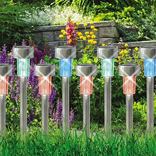 Babz 10 x COLOUR CHANGING STAINLESS STEEL SOLAR LED GARDEN LIGHTS RECHARGEABLE LAMPS Test