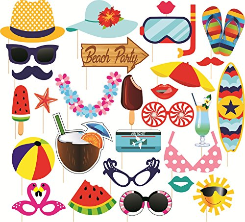 SYGA Beach Party Photo Booth Props Craft Item, Multi Color (Set of 29)