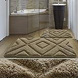 Tappeto da bagno moderno casa pura linea Luxury Jenna | Beige | Spessore extra alto | 80x150 cm