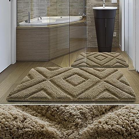 casa pura® Luxury Bath Mat, Beige - Thick Polyester & Viscose Blend, Non-slip - Jenna   60x100cm