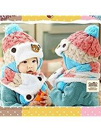HuntGold ours mignon bébé hiver rayé laine chapeaux chaud oreillette avec écharpe rose