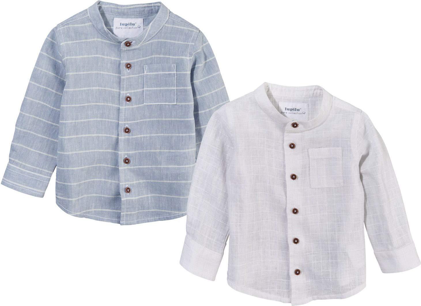 LUPILU PURE COLLECTION Baby Jungen Hemd Leinenhemd, Langarm, aus Bio-Baumwolle mit Leinen