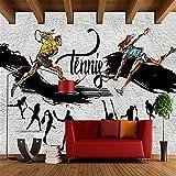 Mddjj Benutzerdefinierte 3D Wallpaper Moderne Tennis Graffiti Gym Restaurant Wohnzimmer Hintergrund Wanddekor Aufkleber Papel De Parede 3D Paisagem 140X100Cm