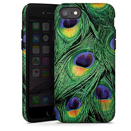 Apple iPhone X Silikon Hülle Case Schutzhülle Pfau Federn dschungel Tough Case glänzend