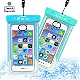WSTOO Universal Waterproof Case With Armband and Touch ID Fingerprint,IPX8 Waterproof Phone Pouch For iPhone8/8plus/7/7plus/6s/6/6s plus Samsung galaxy s8/s7 (2-Pack) (Sky blue + light blue)