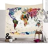 Schöne Farbige Weltkarte Wandteppiche Funkelnde Sterne Symbol Wandkunst Tapisserie Vintage Aquarell Wandbehang Globale Weltkarte Wanddecke Retro Hippie Tapisserie Pattern3 80 * 59in