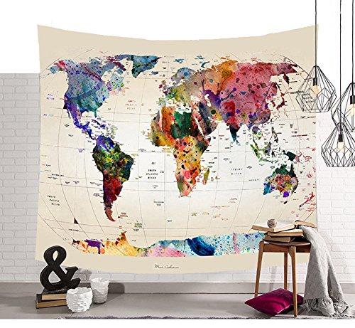Schöne Farbige Weltkarte Wandteppiche Funkelnde Sterne Symbol Wandkunst Tapisserie Vintage Aquarell Wandbehang Globale Weltkarte Wanddecke Retro Hippie Tapisserie Pattern3 80 * 59in (Funkelnde Aquarell)