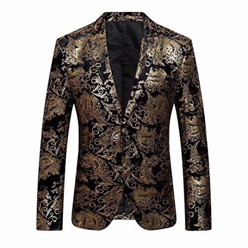 Chaqueta de Hombre, Xinan Chaqueta para Hombre Traje Floral con Muesca Solapa Abrigo Blazer Elegante con Estilo (XXL, Dorado)