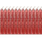 12 Pezzi Sigillatura dei Bastoncini di Cera con Stoppino Fuoco Antico Manoscritto Sigillante per Timbro Sigillo di Cera (Vino Rosso Colori)