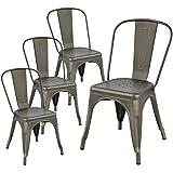 Yaheetech Lot de 4 Chaise de Cuisine Tabouret Salle à Manger Industrielle 45 cm de Hauteur Empilable Metallique avec Dossier