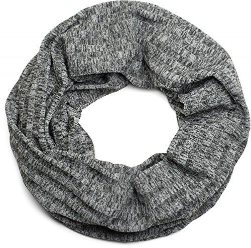styleBREAKER Loop Schlauchschal mit Streifen Muster und Melange Look, Schal, Tuch, Unisex 01016140