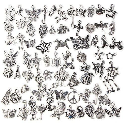 Gosear 100 Stk Antique Silber Gemischten Anhänger Charms für Halskette Schmuck DIY Machen Dekoration Zubehör Zufälliger Stil
