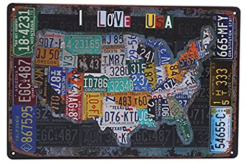 AlphaAcc Print on Metal Plate 30x20cm Print Frames for Wall-USA Map