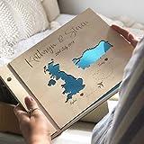 Guestbook matrimonio, Mape, libro delle firme e dediche del matrimonio, con copertina legno, personalizzato, nomi degli sposi