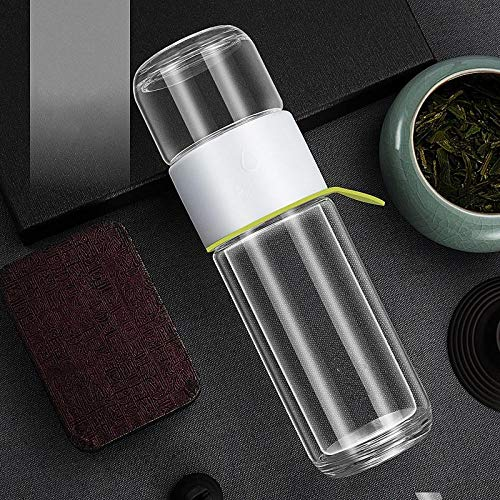 ASLDJA [Tee spezielle Tasse] Tee-Trennbecher Doppelte Teelehrer männliche und weibliche Glasfilter Teetasse tragbare trinkende Teetasse,Weiß - 340 ml einschichtig (Tee-tassen Spezielle)
