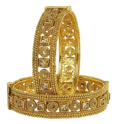 MUCH MORE 22k Gold Plated Polki Bangle Kada for Women and Girls (Size-2.40 Inch)