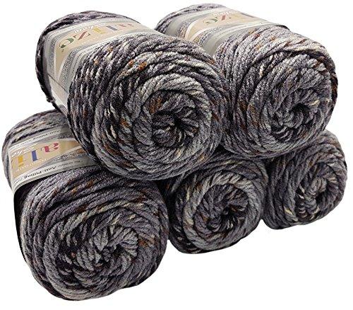Alize Punto Anti Pilling 5 x 100 Gramm Mosaik Wolle Tweed-Effekt mit farbigen Tupfern, Effektwolle (grau beige Creme 6356) -