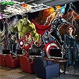 NXMRN Personnalisé 3D Avengers Photo Papier Peint Hulk Iron Man Captain America Mural Garçons Chambre Toute Taille Mural,150X100CM