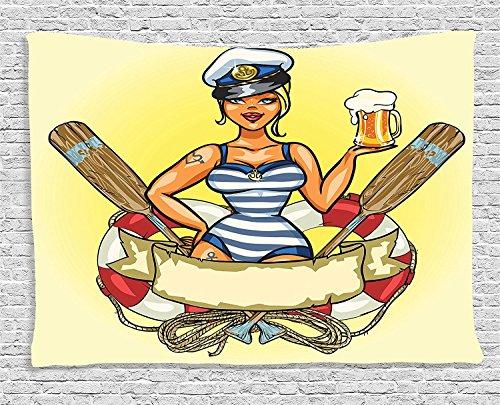 ambesonne Girly Decor Kollektion, Pinup sexy Sailor Girl in Rettungsring mit Captain Hat und Kostüm Glas Bier Feminines Design, Schlafzimmer Wohnzimmer Wohnheim Wandbehang Wandteppich, 203,2x 152,4cm, Multi
