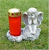 Engel sitzend auf Stein Grabschmuck Grabdeko *für Grabkerze* grau-antik, H 14,5 cm