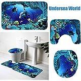 Ciaoed Juego 3piezas para cuarto de baño (alfombra, alfombrilla para WC y alfombra antideslizante para tapa)