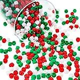 1000 Piezas de Abalorios de Poni de Plástico Surtidos de Abalorios Opacos Cuentas Redondas de Navidad con Caja de Almacenaje para Decoración Manualidades, 3 Colores