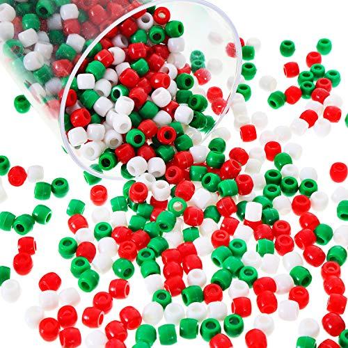 Blulu 1000 Stück Kunststoff Pony Perlen Verschiedene Opake Pony Perlen Weihnachten Runde Perlen mit Aufbewahrungsbox für Haus Dekor Kunst, 3 Farben