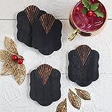 Store Indya, posavasos para beber te taza de cafe Set de mesa de barware de 4 tallados a mano negro quemado con acabado de hoja de cobre antiguo
