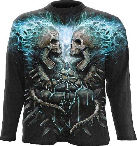 Spiral - Men - FLAMING SPINE - Allover Longsleeve T-Shirt Black