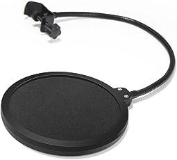InnoGear 6 Zoll Mikrofon Popschutz Studio Mikrofon Absorber Filter Mic Schirm Runde Form Wind pop Filter Maske Schild mit Stand Clip (schwarzer Filter)