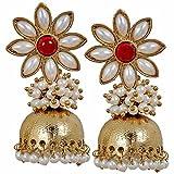 Ethnic Indian Pearl Jhumki Earrings Red ...