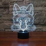 3D Animal Wolf Optische Illusions-Lampen, Tolle 7 Farbwechsel Acryl berühren Tabelle Schreibtisch-Nachtlicht mit USB-Kabel für Kinder Schlafzimmer Geburtstagsgeschenke Geschenk