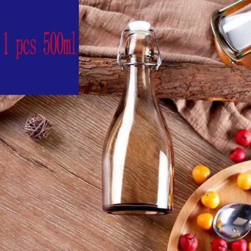 Xuan - worth having Dunkles Gold transparentes Glas versiegelt Flasche Glasflasche Vorratsflasche Milchflasche Rotweinflasche Lebensmittel Vorratsbehälter ( Farbe : 1 pcs 500ml ) (Alkohol Flasche Lagerung)