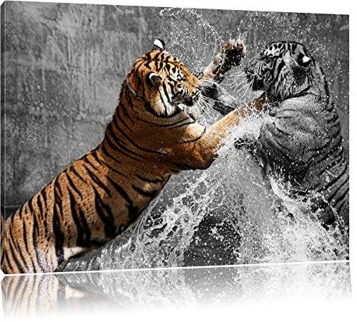 prachtvolle Tiger kämpfen schwarz/weiß Format: 120x80 auf Leinwand, XXL riesige Bilder fertig gerahmt mit Keilrahmen, Kunstdruck auf Wandbild mit Rahmen, günstiger als Gemälde oder Ölbild, kein Poster oder Plakat