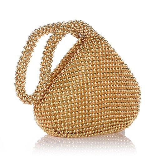ERGEOB® Donna Clutch Kreatives Design diamante/aluminium borsetta sacchetto di sera triedro Festa taschino Aluminium oro