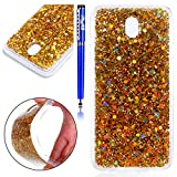 EUWLY Custodia per Samsung Galaxy J7 2017/J730(Versione Europea), Samsung Galaxy J7 2017 TPU Silicone Cover, EUWLY Moda Elegante Bling Bling Custodia per Samsung Galaxy J7 2017 Protectiva Bumper Ultra Sottile Gomma Gel Morbida Flessibile TPU Silicone Case Colorful Shiny Custodia per Samsung Galaxy J7 2017 Coperture Anti Graffio Anti Scossa Anti Scivolo Protectiva Back Cover per Samsung Galaxy J7 2017+1 x Stilo Penna Touchscreen,Glitter Oro