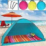 camp active® Pop Up Strandmuschel mit Boden Wurfzelt Sonnenschutz Windschutz UV Schutz 200x125x110 cm verschiedene Farben