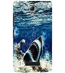 PrintDhaba WILD SHARK D-6203 Back Case Cover for LENOVO A2010 (Multi-Coloured)