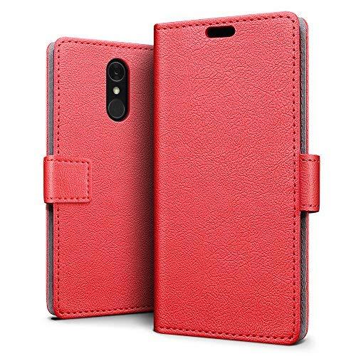 SLEO LG Q7/LG Q7 Plus/LG Q7 Alpha Hülle, PU Leder Case Tasche Schutzhülle Flip Case Wallet im Bookstyle für LG Q7/LG Q7 Plus/LG Q7 Alpha Cover - Rot