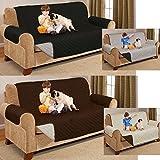 Reversible manta de sofá Protector antideslizante para perro gato mascota impermeable–ideal para sala de estar, mejor protección contra mascotas niños y las manchas., Brown & Beige, THREE SEATER
